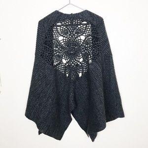 Free People Sweaters - Free People   Crochet Back Shawl Wrap Cardigan OS
